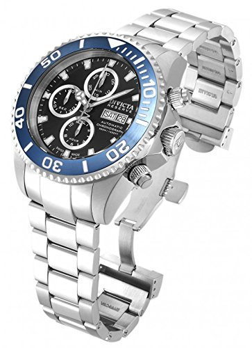 Invicta 18910 Men's Pro Diver Reserve Chrono Black Dial Steel Bracelet Automatic Dive Watch