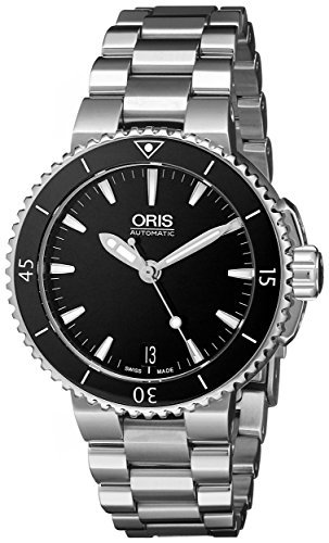 Oris Women's 73376524154MB Divers Stainless Steel Black Dial Watch