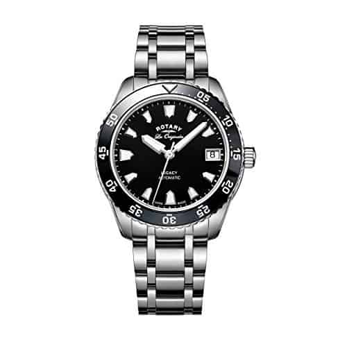 Rotary Watches Ladies Swiss Legacy Dive Black Dial Stainless Steel Bracelet Watch LB90168 04