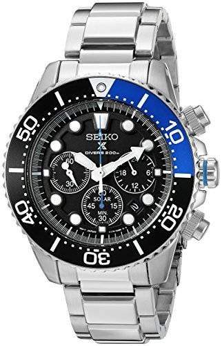 Seiko Men's SSC017 Prospex Solar Stainless Steel Dive Watch