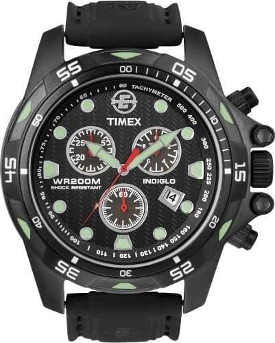 Timex Expedition Men's Watch Dive Style Chronograph T49803 Black Dial