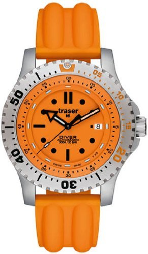 Traser H3 Stainless Steel Diver Automatic Orange Dial Watch