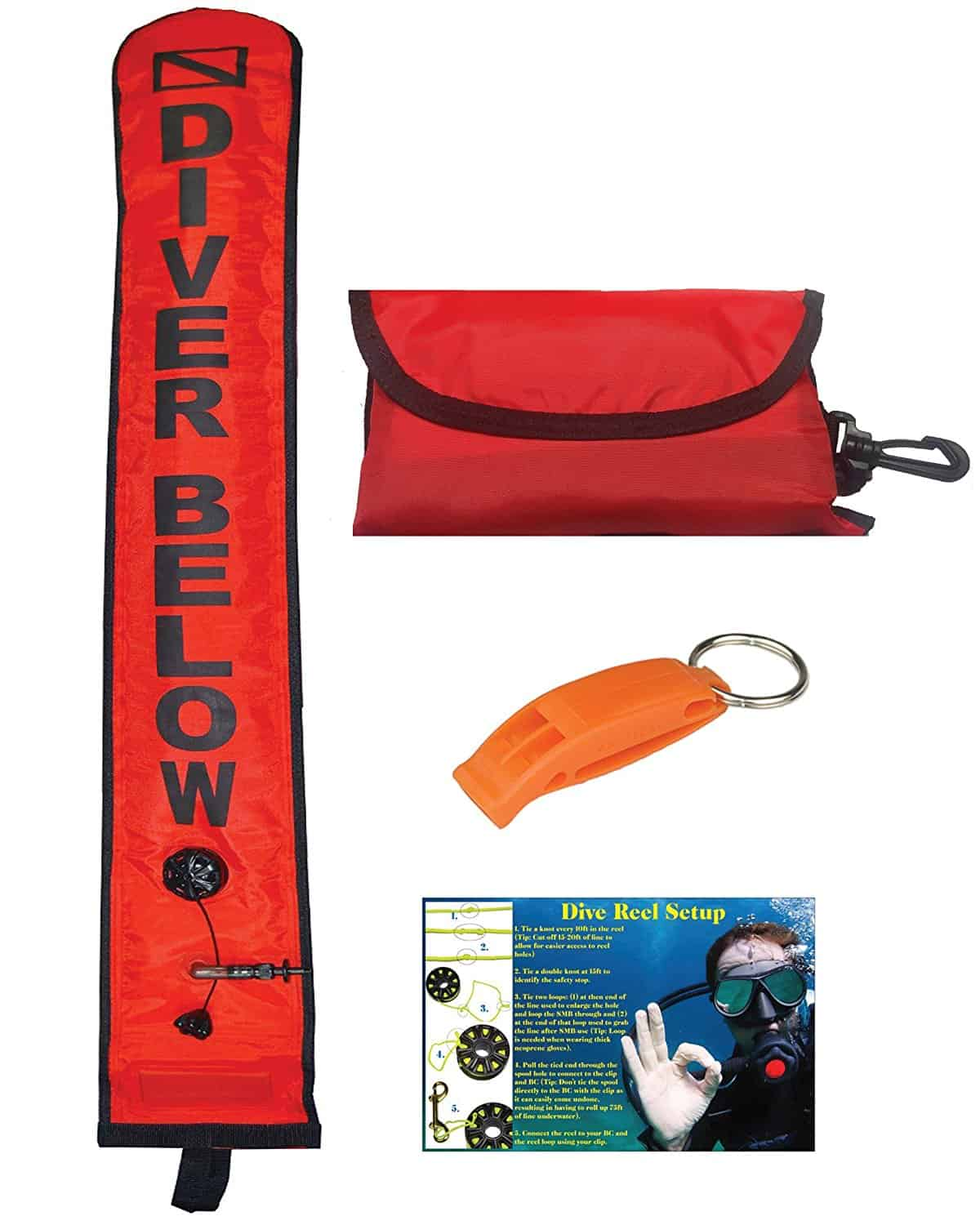 DiveSmart 4ft Scuba Diving Open Bottom Surface Marker Buoy (SMB) Kit