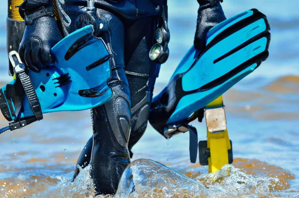 Scuba Diver with blue blade fins