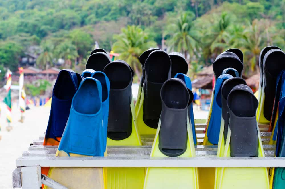 Full-Foot Scuba Diving Fins waiting for usage