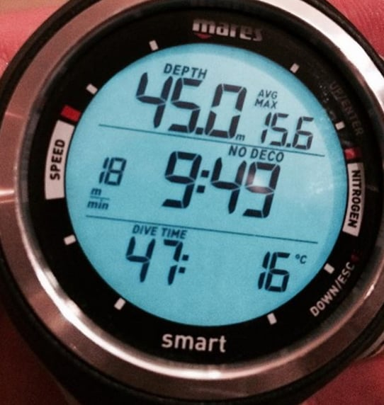Closeup of the display of the Smart by Mares