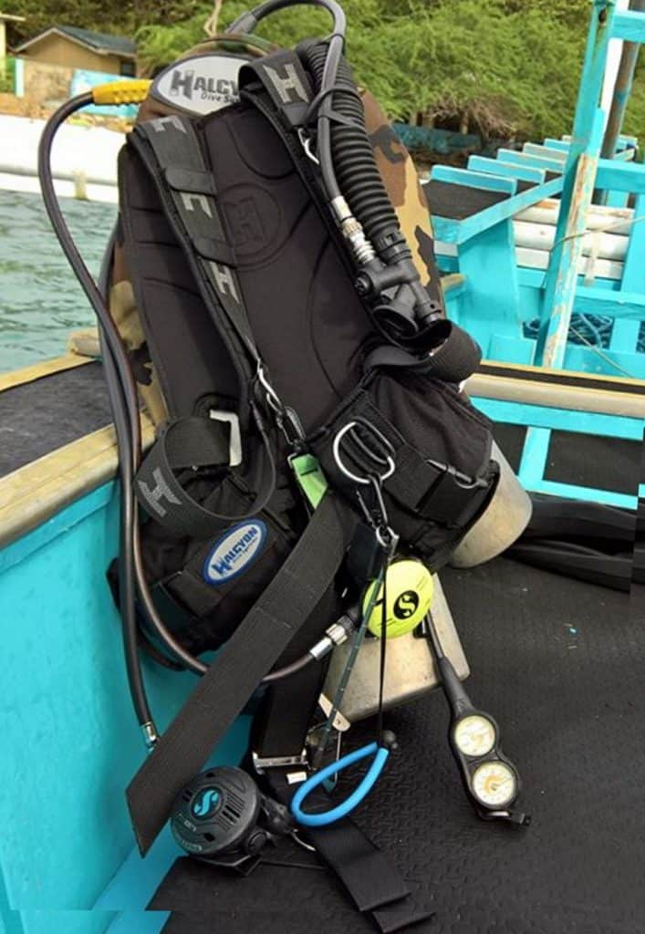 BCD with other scuba gear on a boat