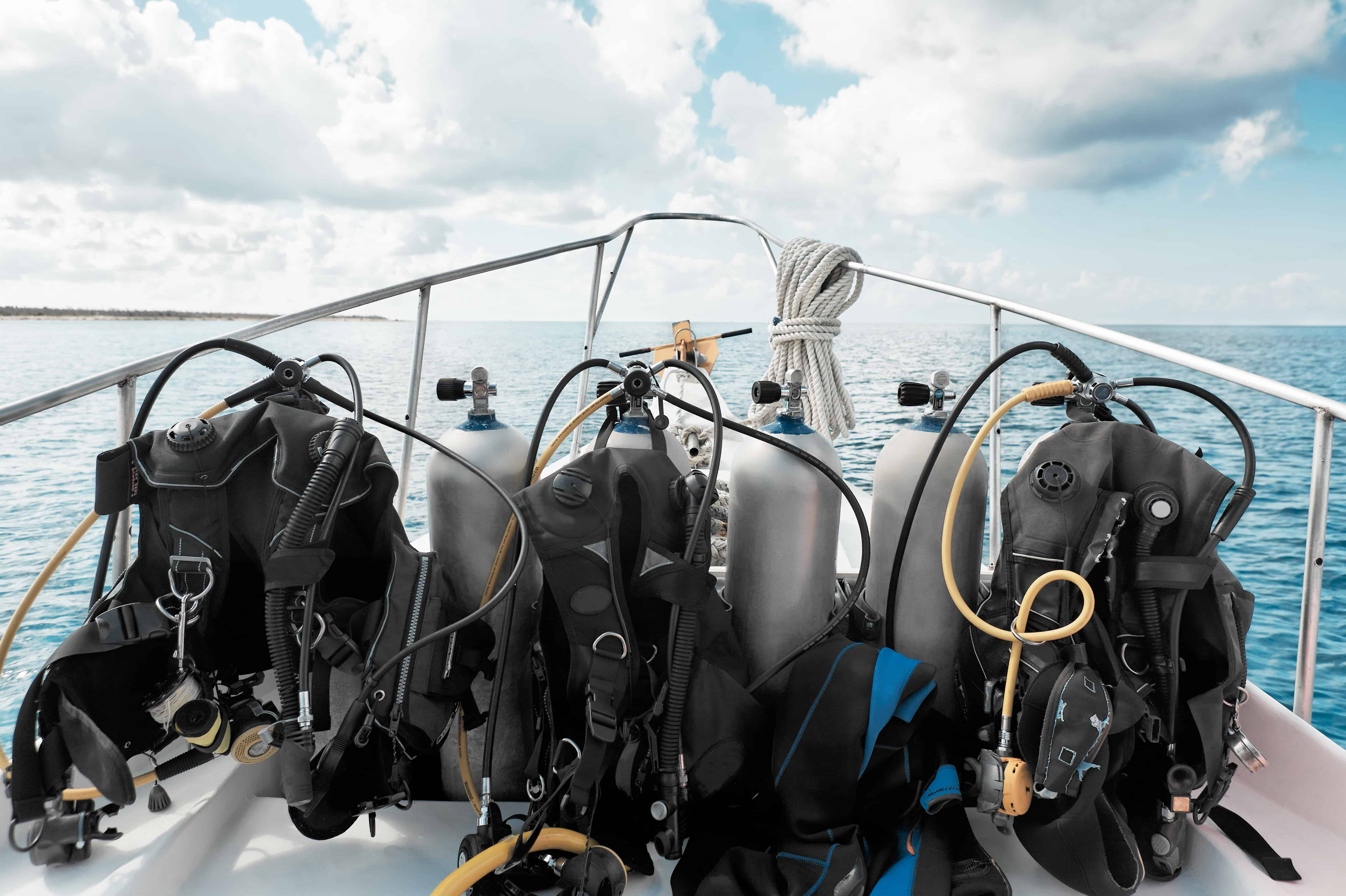 dive gear on boat ready for prep