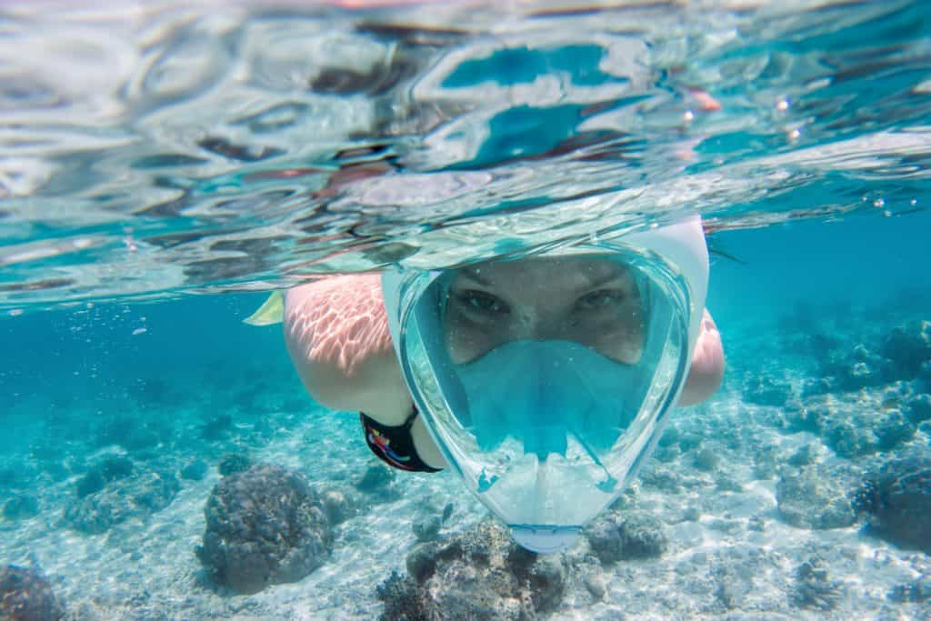 Enjoying the 180 degree view with a full face snorkel mask