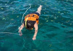 Relaxed snorkeling with a buoyancy vest