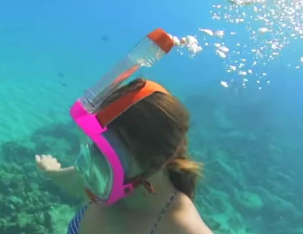 Diving with a full face snorkel mask