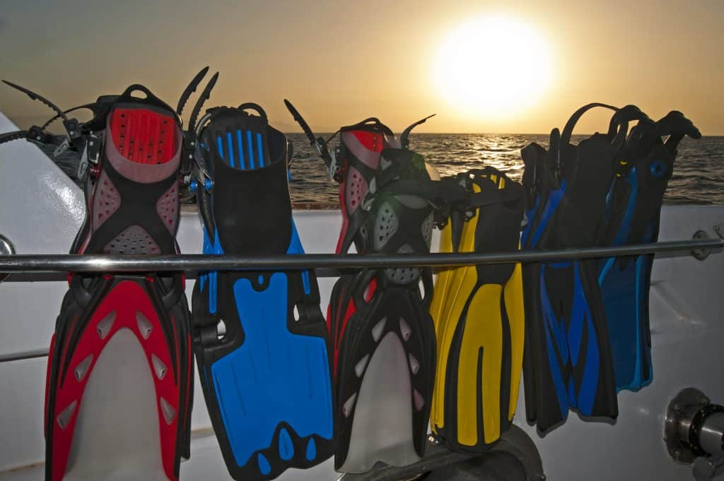 Scuba travel fins lined up on a dive boat