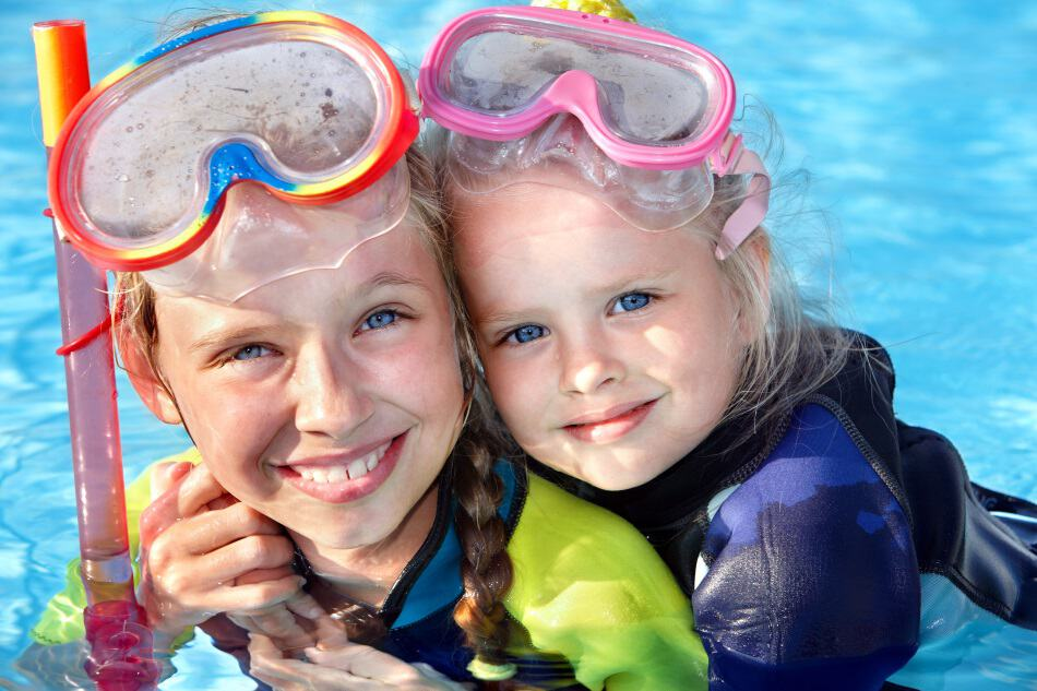 Kids with snorkels in pool
