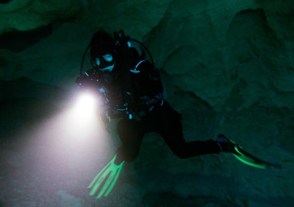 Scuba diving with a torch
