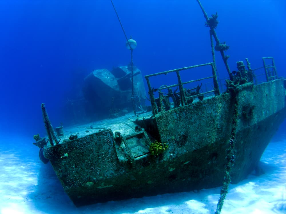 Diving a wreck in the Caymans