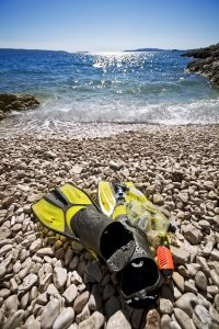 Using the top flippers for snorkelling
