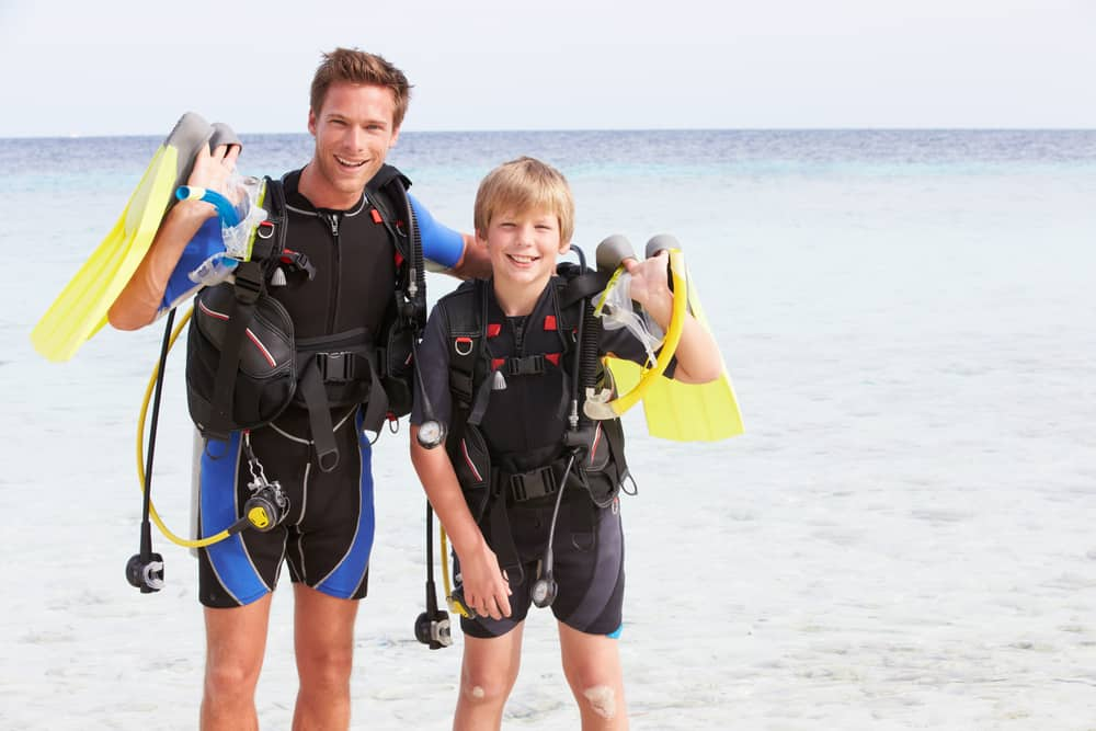Scuba diving for children requires the right gear for the kids - Get Junior sized fins, masks and wetsuits