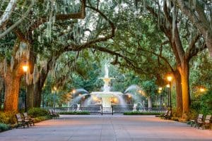 Enjoy sightseeing in Savanna - Forsyth Park - when you're not diving!